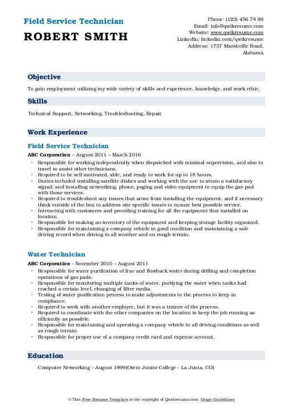 Field Service Technician Resume Format