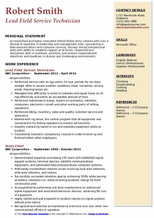 Lead Field Service Technician Resume Example
