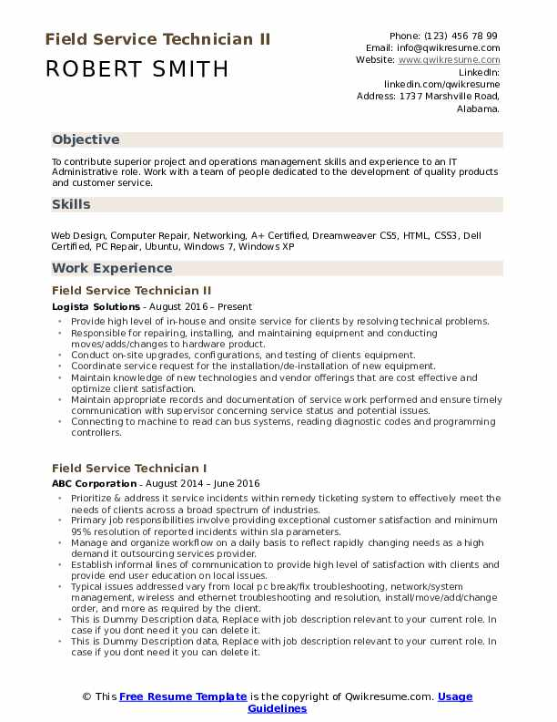 Field Service Technician Resume example