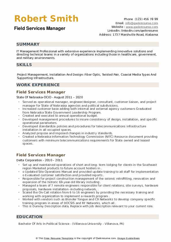 Field Services Manager Resume example
