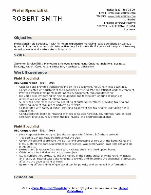 Field Specialist Resume Example