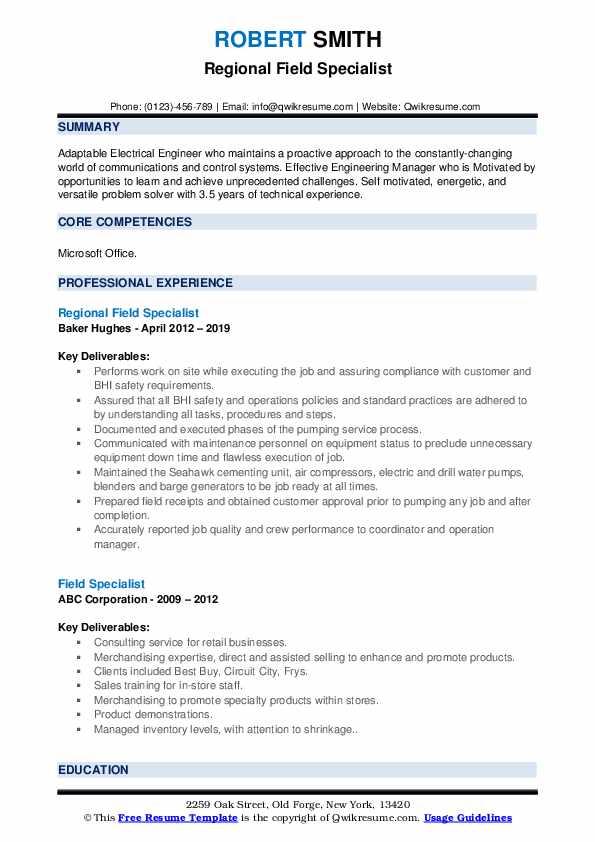 Regional Field Specialist Resume Model