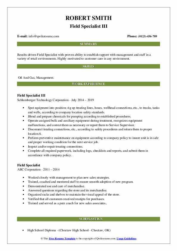 Field Specialist III Resume Template