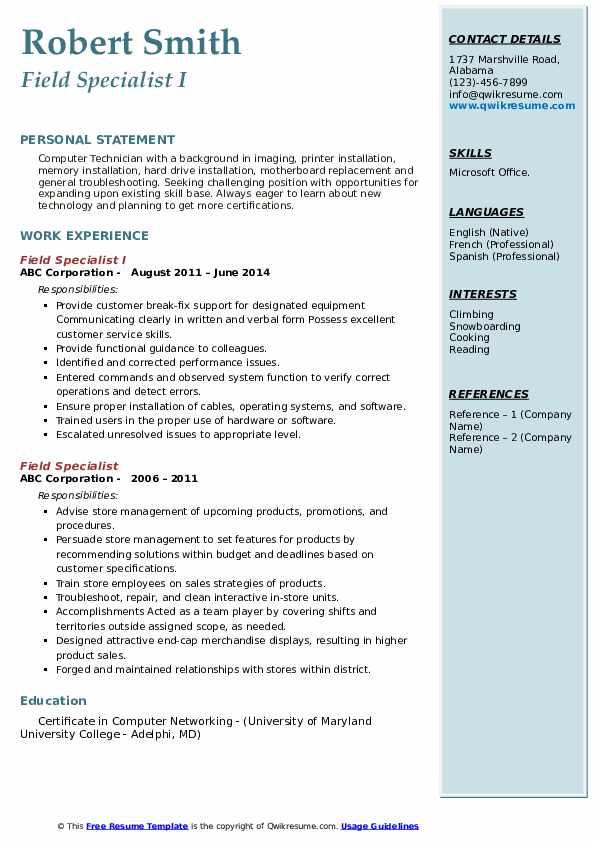 Field Specialist I Resume Model