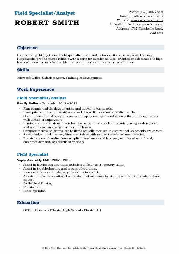 Field Specialist/Analyst Resume Format