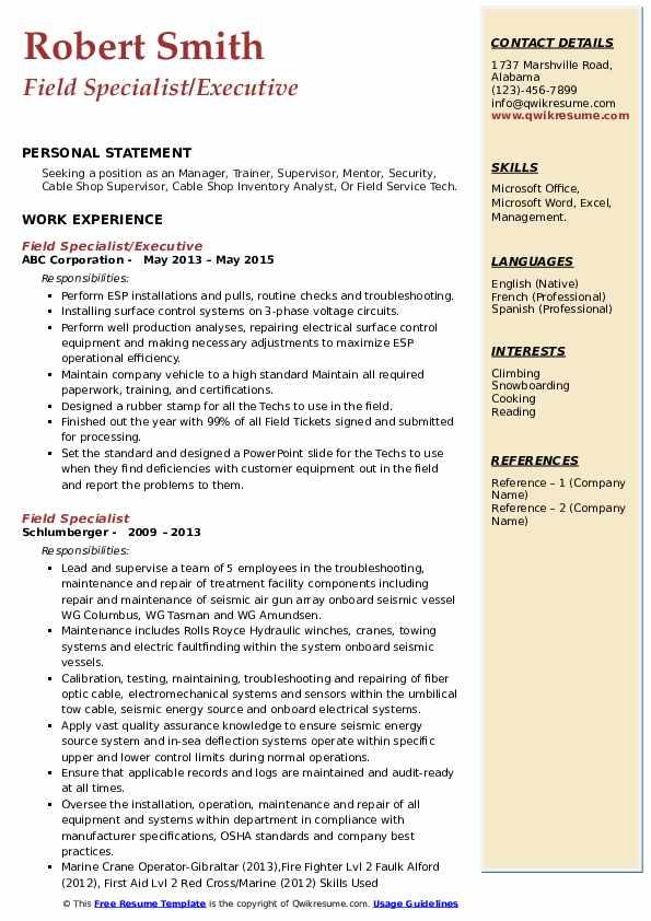 Field Specialist/Executive Resume Template