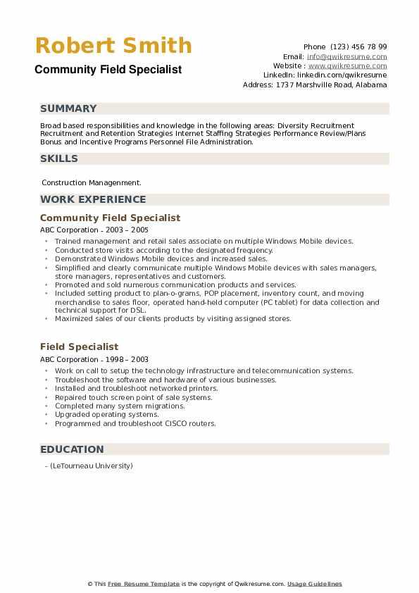 Community Field Specialist Resume Format