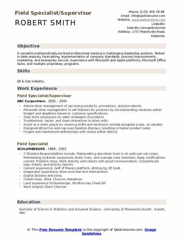 Field Specialist/Supervisor Resume Format