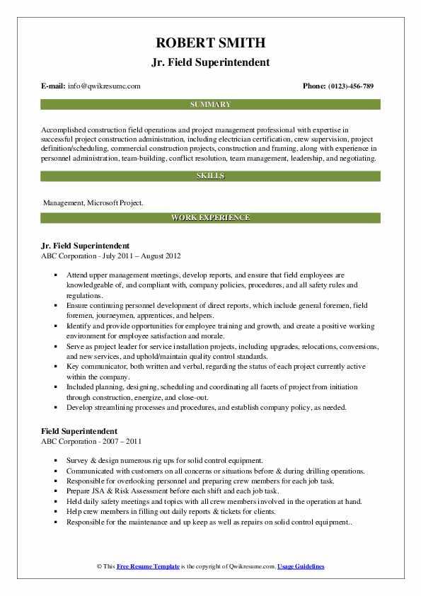 Jr. Field Superintendent Resume Example