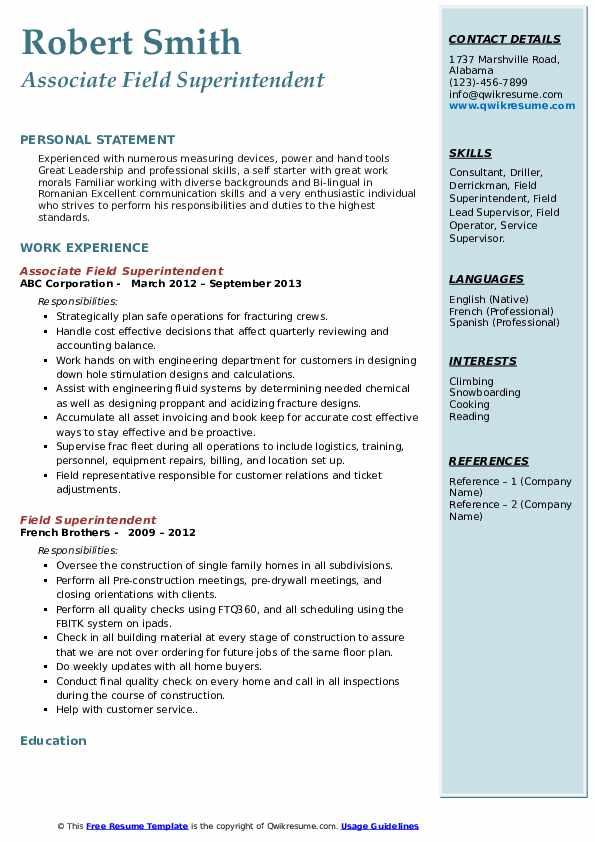 Associate Field Superintendent Resume Format
