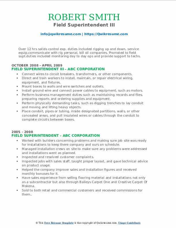 Field Superintendent III Resume Format