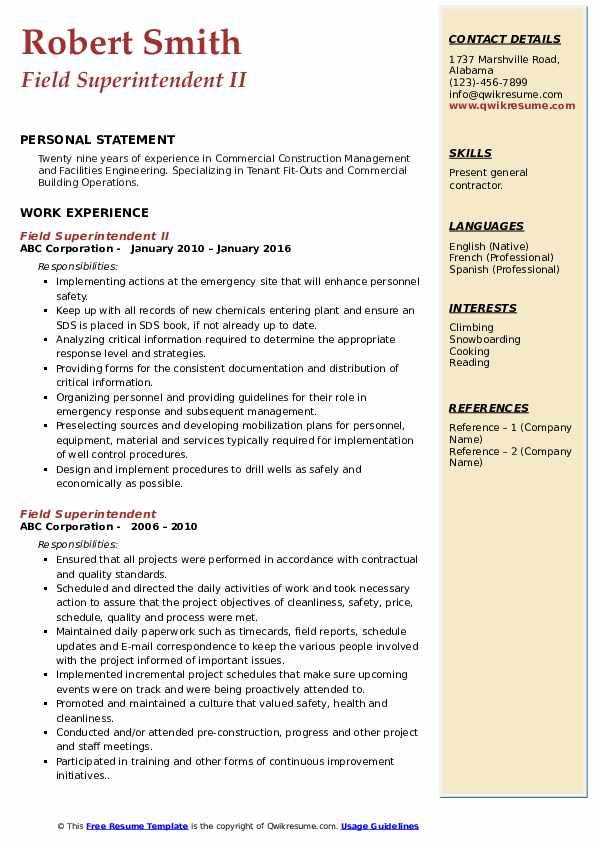 Field Superintendent II Resume Example
