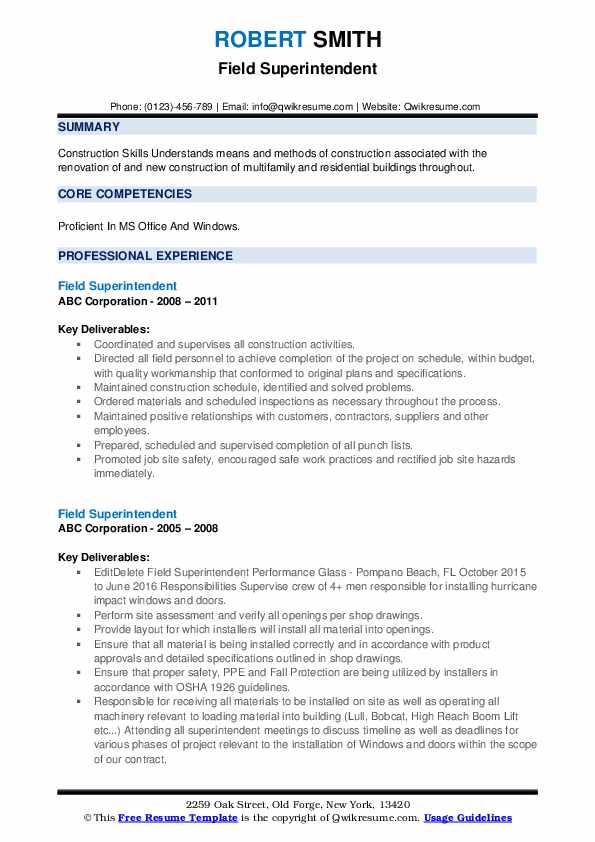 Field Superintendent Resume example