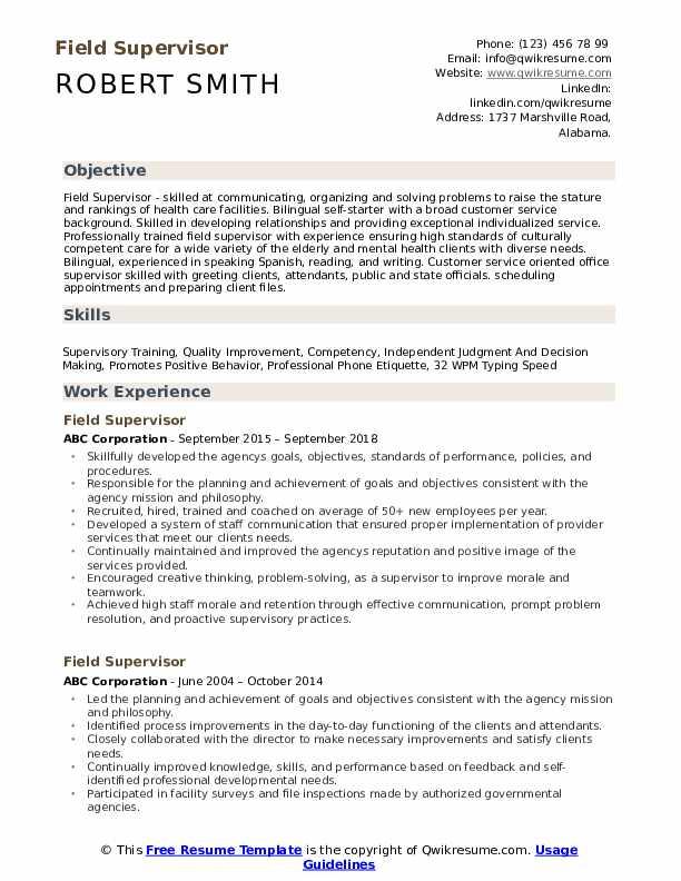 Field Supervisor Resume Model
