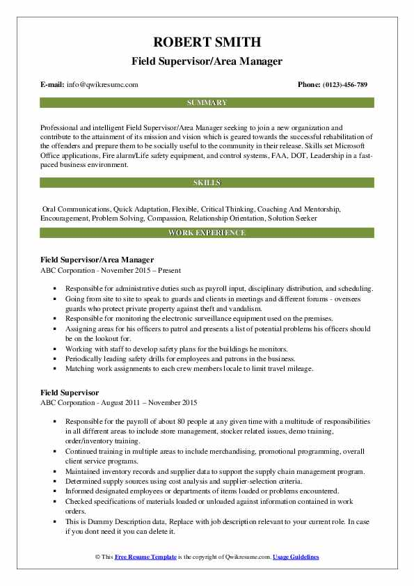 Field Supervisor/Area Manager Resume Example