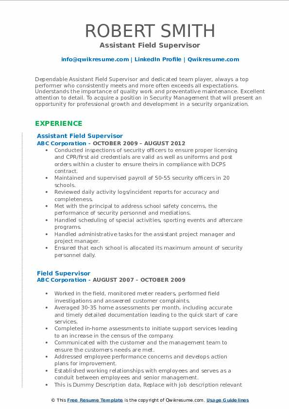 Assistant Field Supervisor Resume Example