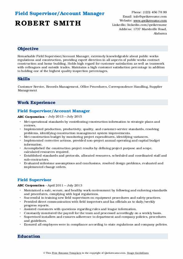 Field Supervisor/Account Manager Resume Format