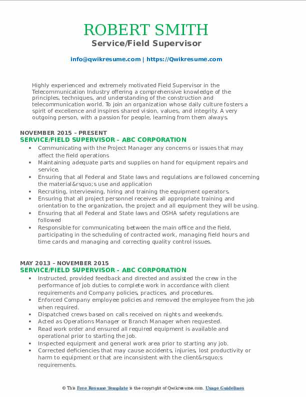 Service/Field Supervisor Resume Template