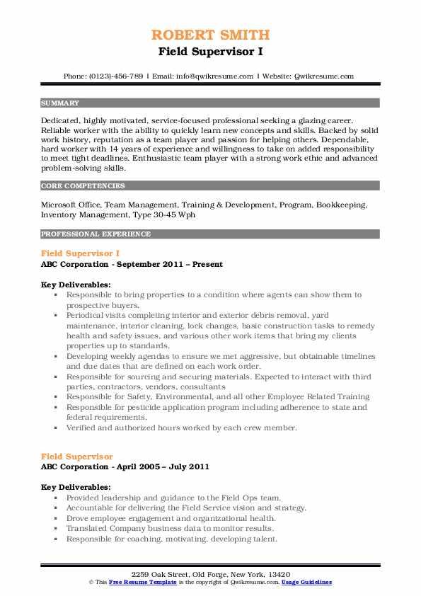 Field Supervisor I Resume Format