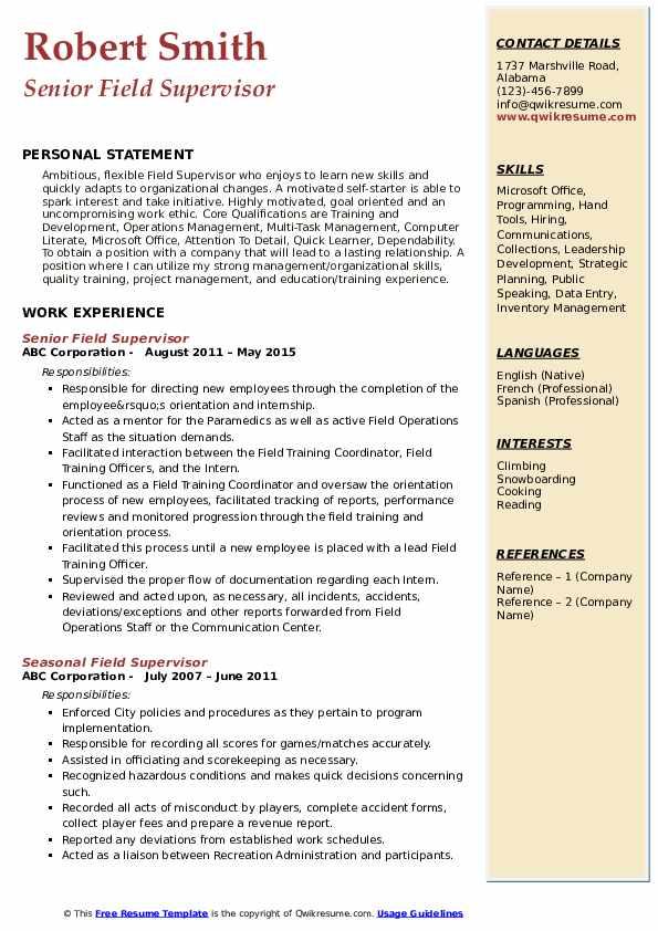 Senior Field Supervisor Resume Format