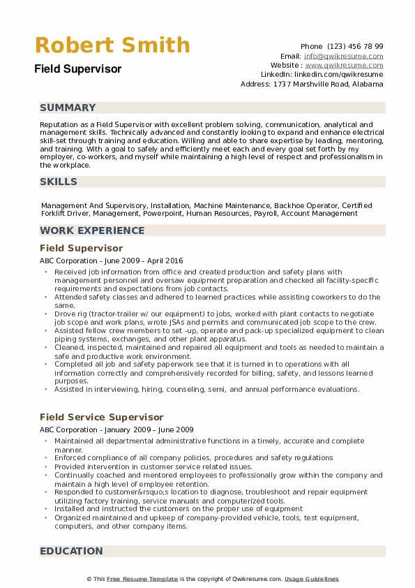 Field Supervisor Resume example