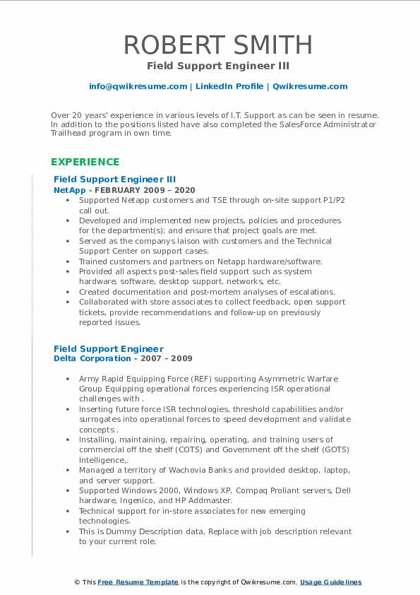 field support engineer resume samples  qwikresume