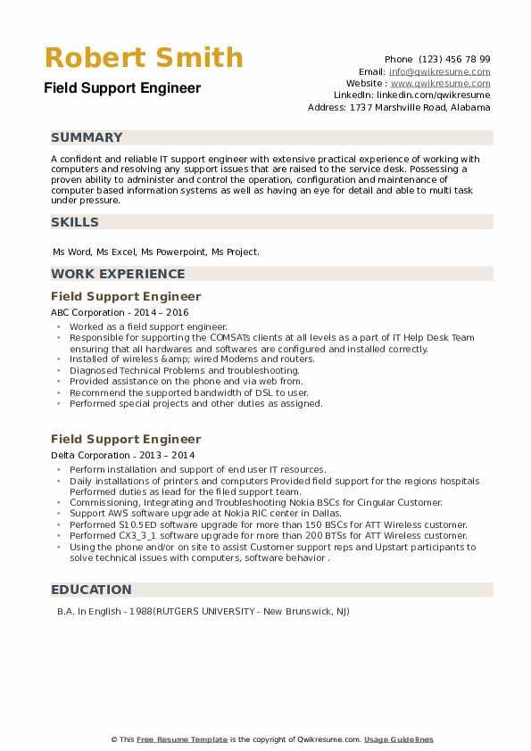 field support engineer resume samples