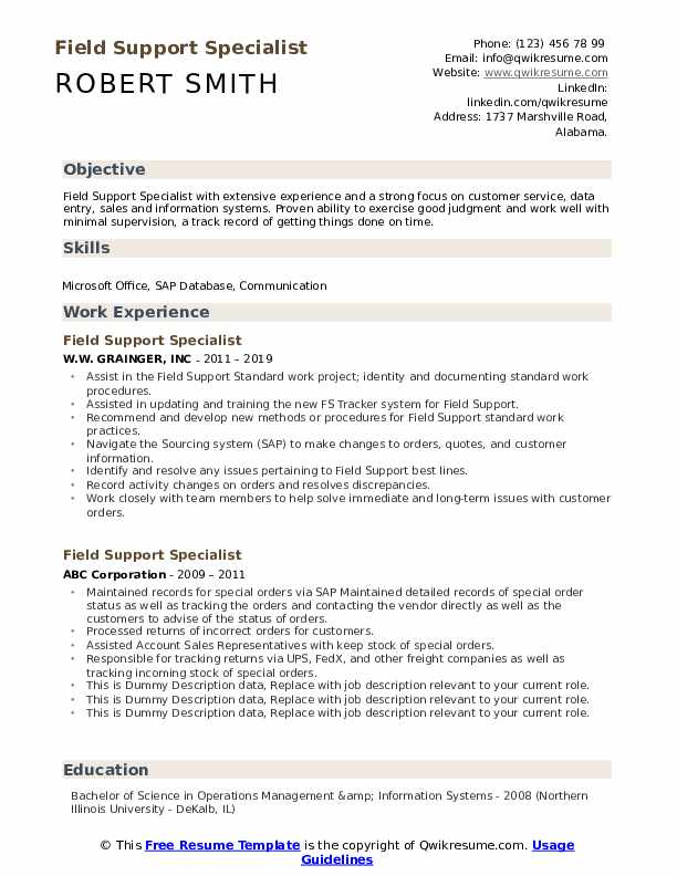 Field Support Specialist Resume example