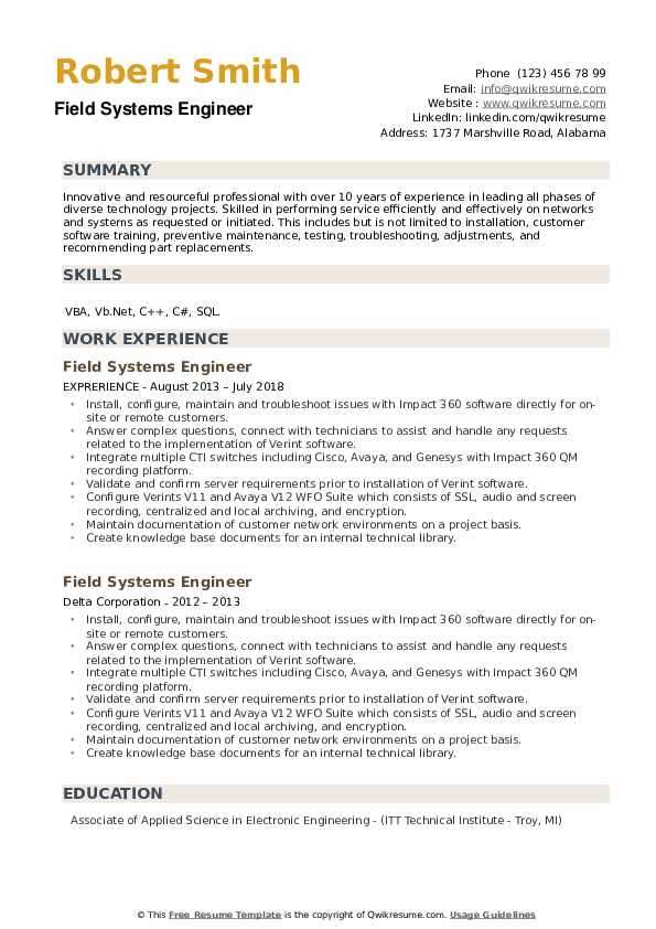 Field Systems Engineer Resume example