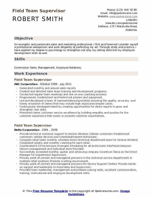 Field Team Supervisor Resume example