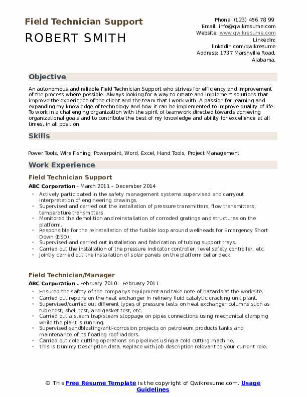 Field Technician Support Resume Template