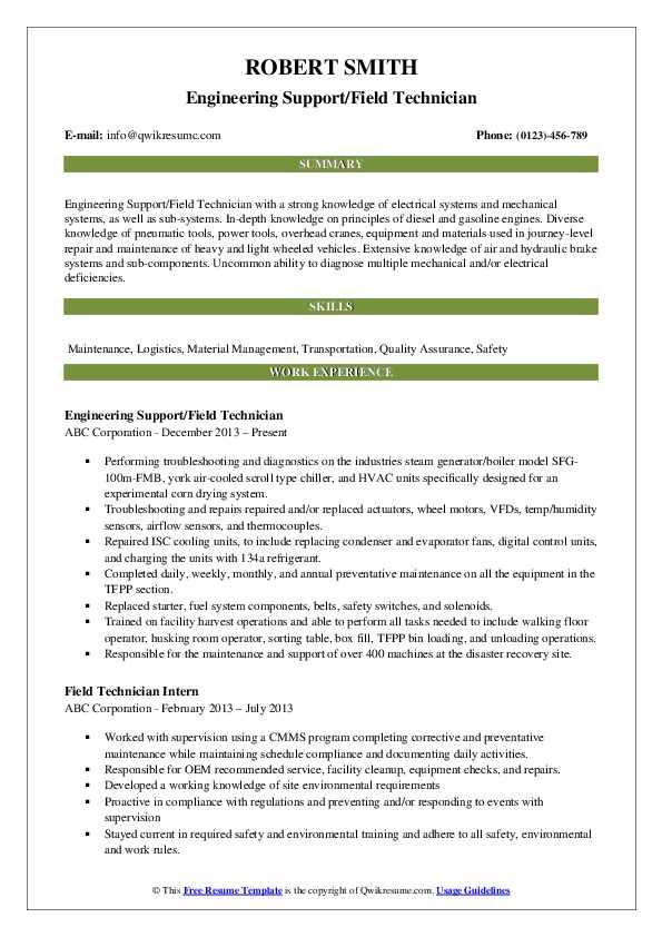 Engineering Support/Field Technician Resume Example