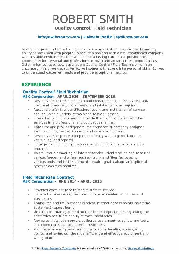 Quality Control/ Field Technician Resume Template