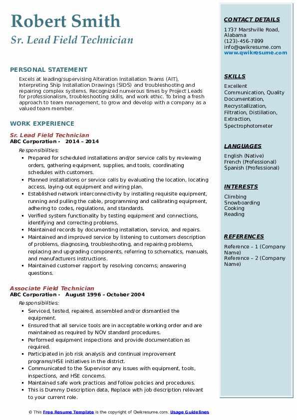 Sr. Lead Field Technician Resume Sample