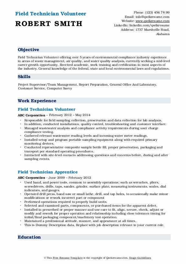 Field Technician Volunteer Resume Example