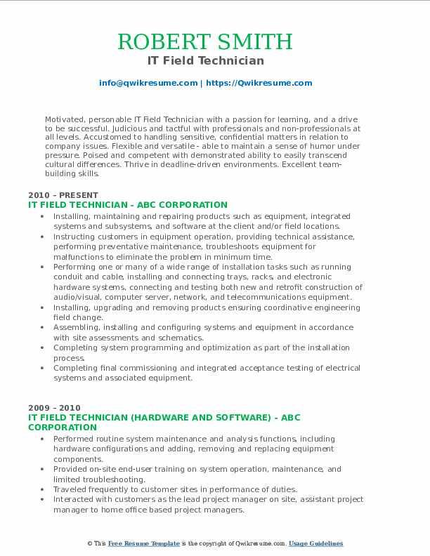 IT Field Technician Resume Sample