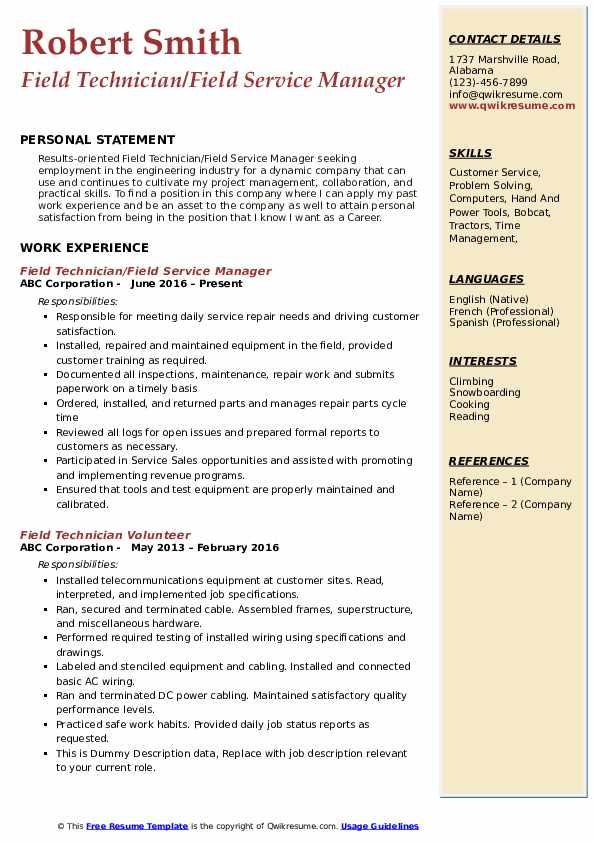 field technician resume samples  qwikresume