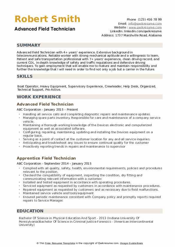 Field Technician Resume example