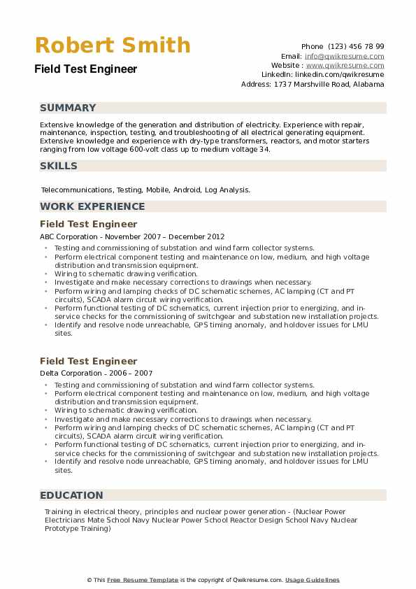 Field Test Engineer Resume example