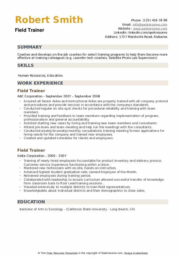 Field Trainer Resume example