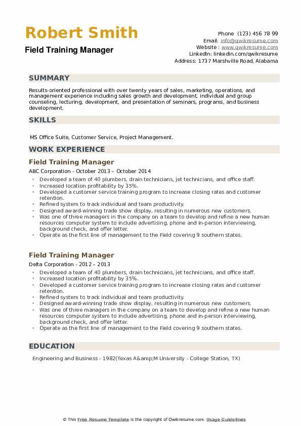 Field Training Manager Resume example