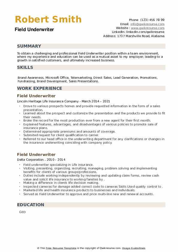 Field Underwriter Resume example