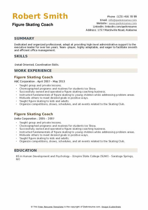 Figure Skating Coach Resume example