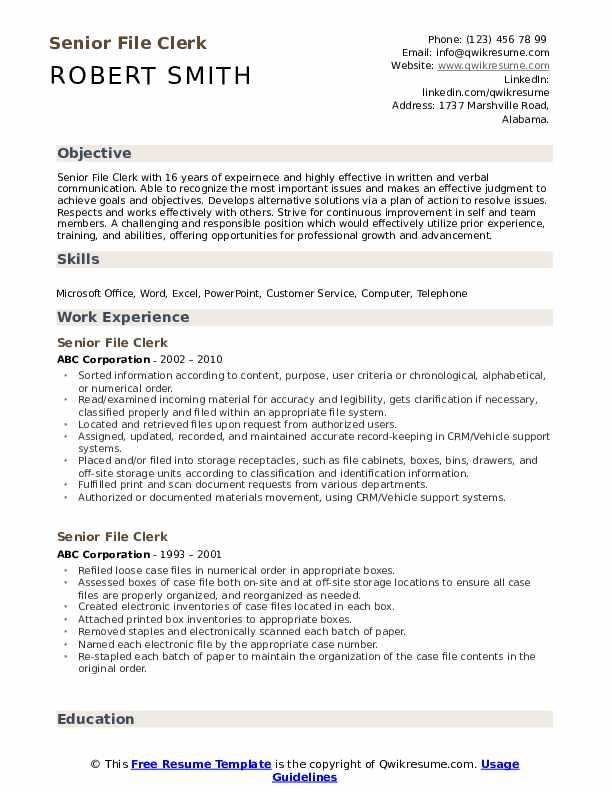 Senior File Clerk Resume Example
