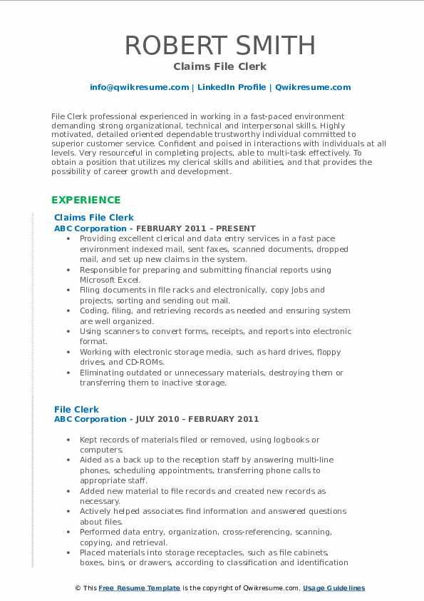 Claims File Clerk Resume Template