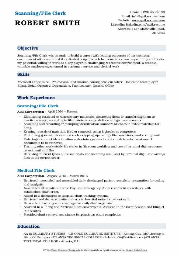 Scanning/File Clerk Resume Sample