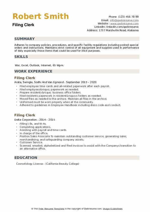 Filing Clerk Resume example