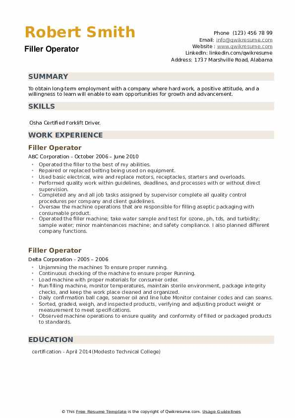 Filler Operator Resume example