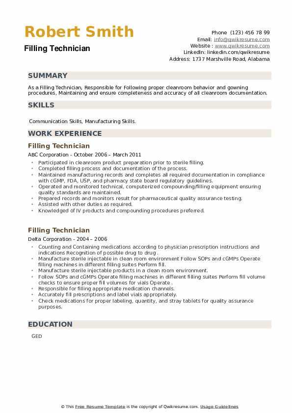 Filling Technician Resume example
