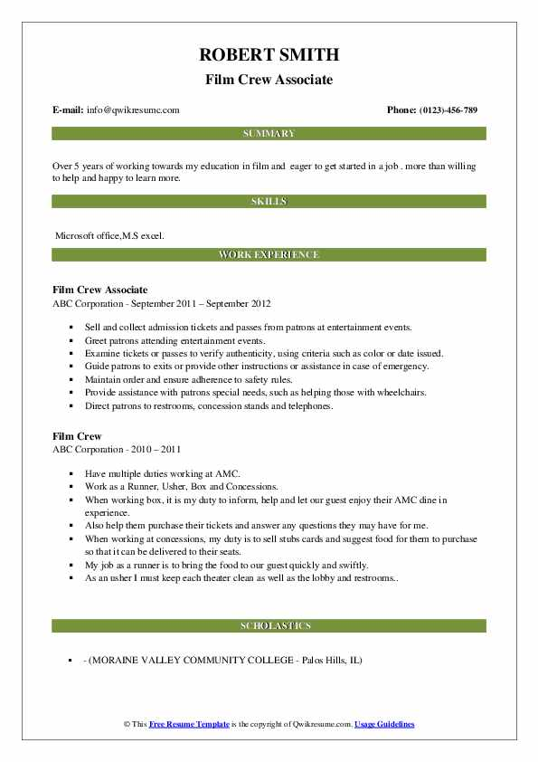 Film Crew Associate Resume Template